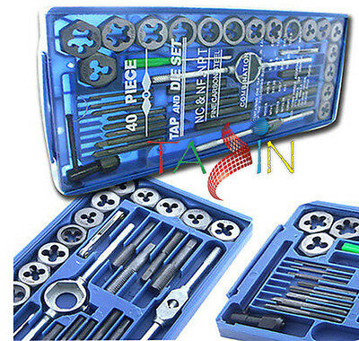 40 Pc Tap & Die Tools Metric Tap Wrench & Die Set Cuts Bolts M3-M12 M25 T-Handle