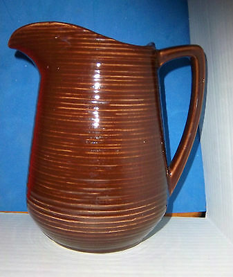 "McCOY POTTERY - BROWN RINGED PITCHER - 8"" TALL"