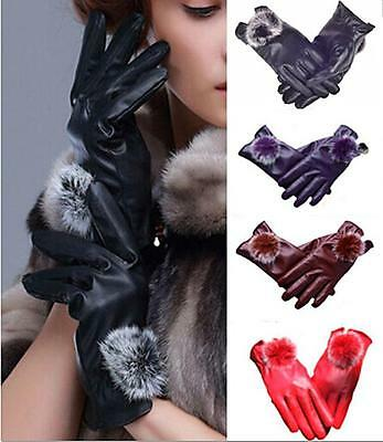 DI US Fashion Women Girls Winter Soft Leather Mitten Gloves Warm Driving Gift
