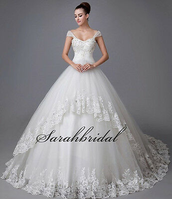 White Ivory Ball Gown Wedding Dress Plus Size Lace Sweetheart Bridal Dress Gown
