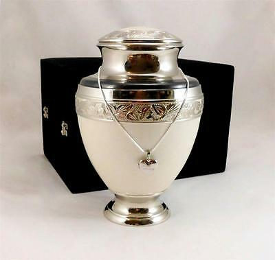 Solid Brass Adult Remembrance Cremation Memorial Funeral Urn + Engraving Plate
