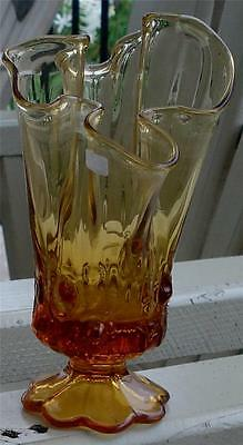 Nice Vintage Amber Glass Molten Shape Footed Vase, GREAT SHAPE, VGC