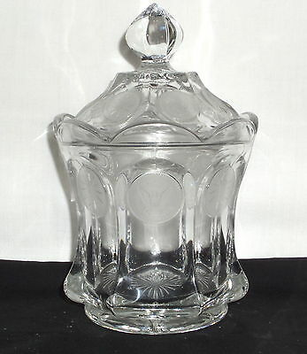 "Fostoria COIN FROSTED CRYSTAL *6 3/4"" CANDY JAR w/LID*"
