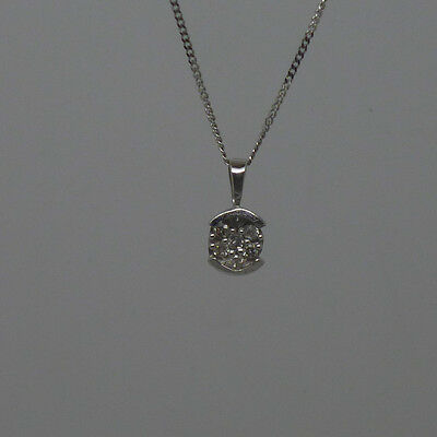 """9ct white gold diamond cluster pendant with 18"""" curb chain and full hallmark"""