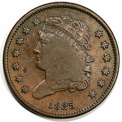 1835 C-1 Counter Stamp Classic Head Half Cent Coin 1/2c