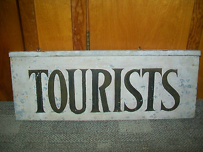 "Original Old ""Tourists"" Advertising Tin & Wood Double sided Sign"