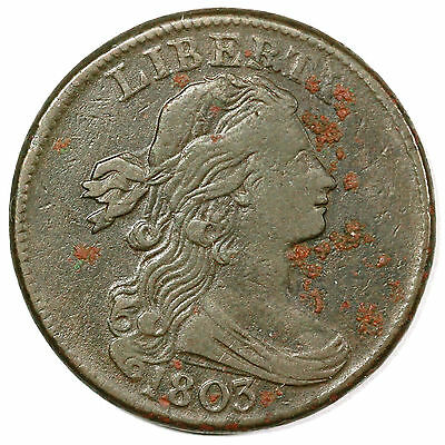 1803 S-256 R-3 Draped Bust Large Cent Coin 1c