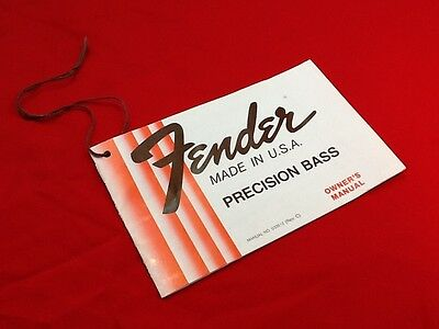 Vintage 1980 Usa Fender Precision P Bass Guitar Hang Tag  Case Candy