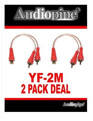 2 Pieces 1 Female to 2 Male RCA Y Adapter Splitter Stereo Patch Cables Car Audio