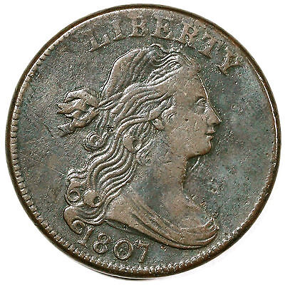 1807 S-275 R3 Draped Bust Large Cent Coin 1c