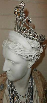 Large Rhinestone Tarnished Silver Shabby Jewels Mannequin  Statue Crown