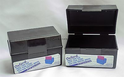 Lot of 2 Oxford Index Card Box 01351 Easel Lid Flip Top  3 x 5 Cards Black Matte