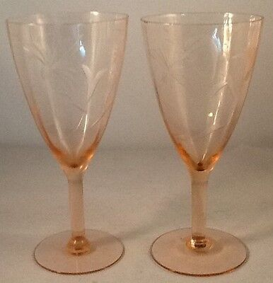 2 Tiffin Pink Optic Etched Stems Wine Glasses Depression