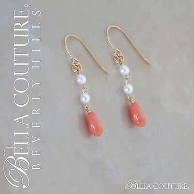 $495 NEW VICTORIAN ANTIQUE VINTAGE CORAL 14K GOLD SEED PEARL DANGLE EARRINGS