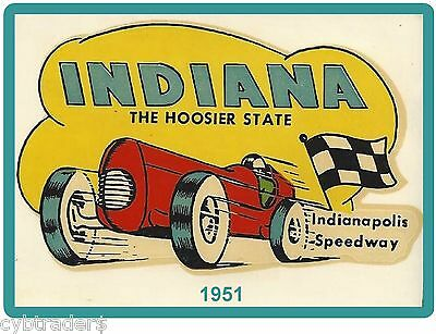 1951 INDY 500 INDIANA  INDIANAPOLIS SPEEDWAY  Refrigerator / Tool Box Magnet