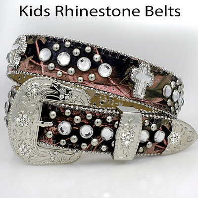 Camo_1371_Girls Western Rhinestone Childrens Western Kids Bling Bling Belts
