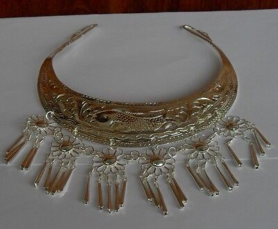 Rare Old Hill Tribe Silver Plated Brass Necklace 100% Vintage Handmade