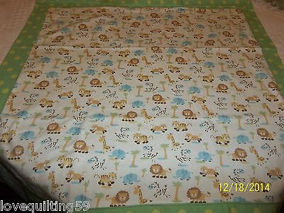 """BABY FLANNEL QUILT"",Handmade,White Jungle Print w/Green Polka-dot, Cotton"