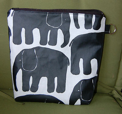 Elephant OIL CLOTH wet baby bag pouch, black white,  Finland Finlayson fabric