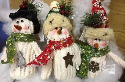 "Set 3 different asst Christmas tree Holiday plush Snowman ornaments 5"" NEW"