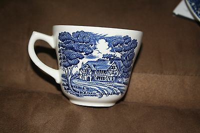 6 Grindley English Country Inns Staffordshire Tea Cup Cobalt Blue Boars Head