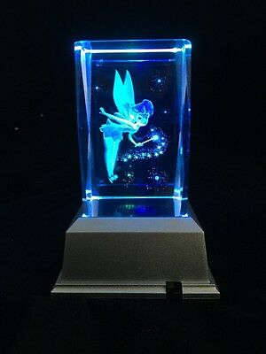 NEW- Tinkerbell Fairy (2) - 3D Laser Etched Crystal Block With 4 LED Light base