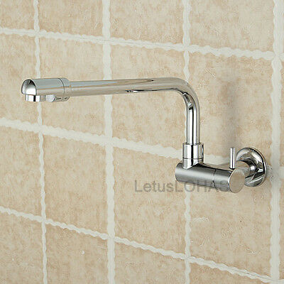 Wall Mounted Chrome Brass Kitchen Sink Faucet Long Swivel Spout Cold Water Tap