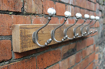 Vintage Wooden Coat Rack Hand Crafted With Victorian Ceramic Hooks
