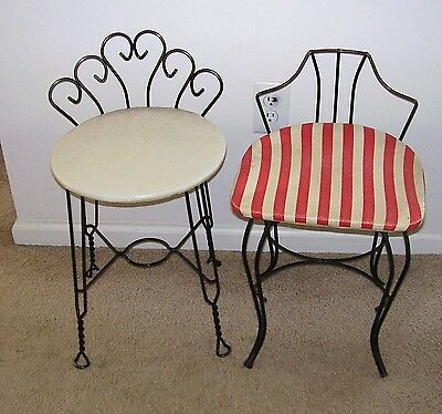 Vintage ~ 2 METAL  Wire Vanity Chairs / Seats / Stools