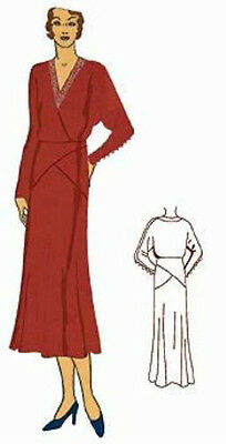 #T6558 - 1930s Ladies Surplice Frock Sewing Pattern - Historical - Theater