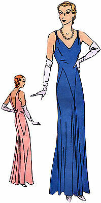 #T5918 - 1930s Evening Gown with Deep Back Sewing Pattern - Retro Glamour