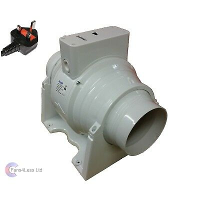 SALE SMF125S in line Mixed Flow 5'' Hydroponics Bathroom Extractor Fan UK PLUG