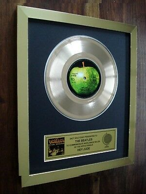 "The Beatles Hey Jude 24Kt Gold Record Disc Award 7"" Single"