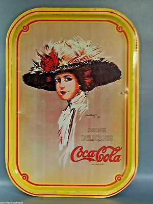 Altes COCA COLA Tablett Blechtablett Hamilton KING Design Tin Tray Sheet Tray