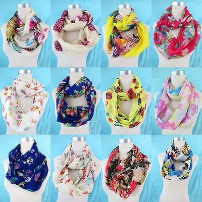 *US Seller*10pc bulk flowers floral infinity scarf women fashion gift
