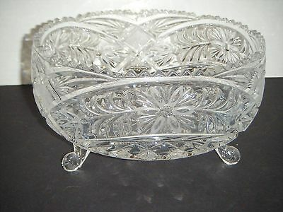 """American Brilliant 8"""" Footed Crystal Centerpiece / Console / Serving Bowl"""