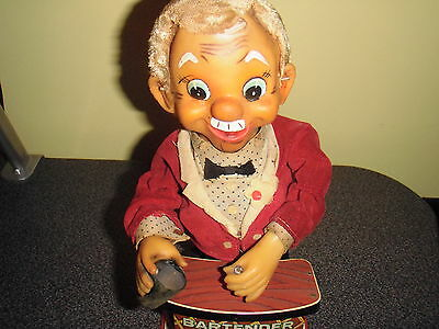 1960's Bartender Battery Mechanical Operated Tin Toy (Trade Mark) Charley Weaver