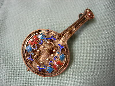 Vintage Chinese Silver Enamel Brooch Pendant - Musical Instrument