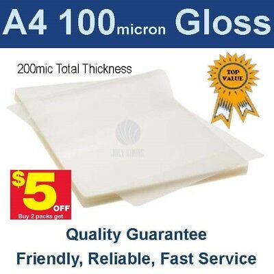 A4 Laminating Pouches Film 100 Micron Gloss (PK 100) -Buy 2 packs get $5 off