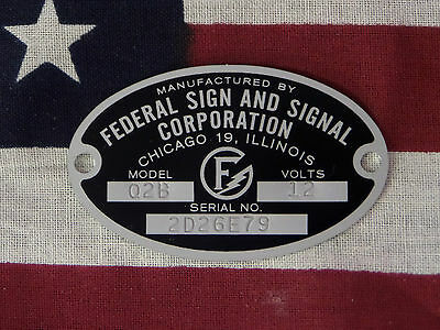 Federal Sign and Signal Siren Models Q / C / 66 / 67 / 78 Replacement Badge