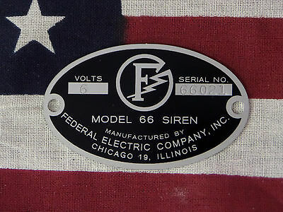 Federal Electric Company 66 / 66G / 66L Replacement Badge 6 or 12 Volt