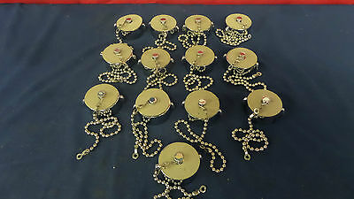 "NEW Fire Truck Chrome Brass Discharge Caps 1 1/2"" NH-NST w/ Beaded Chain Tether"