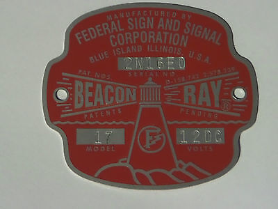 Federal Sign and Signal Model 17 Beacon Ray 12 Volt Replacement Badge