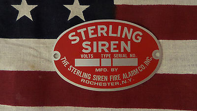 Sterling Siren Fire Alarm Company Replacement Badge