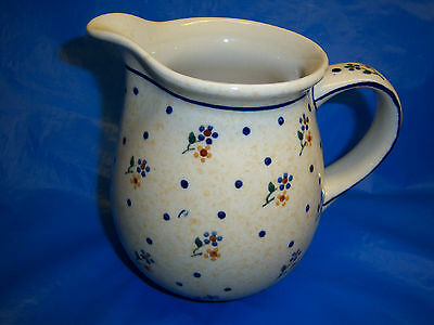 """BOLESLAWIEC pitcher HAND MADE in POLAND 5 1/2"""" tall CHARMING hand crafted item"""