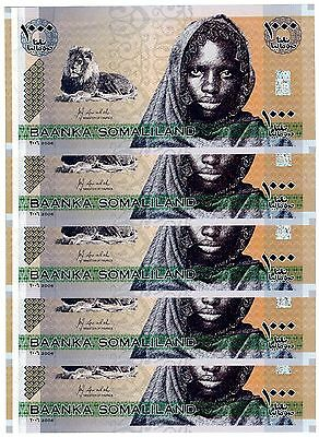 2006 Somaliland 5 Notes Uncirculated 1000 Shillings