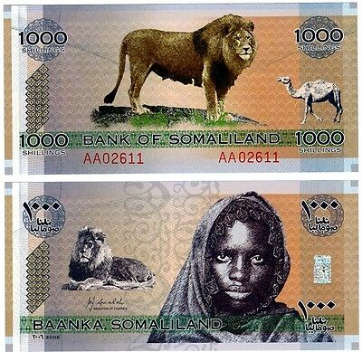 2006 Somaliland One Note Uncirculated 1000 Shillings