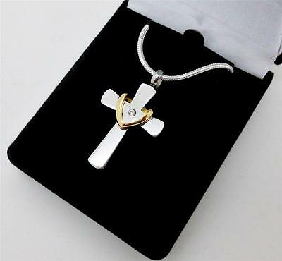 Silver Cross & Gold Wreath Memorial Keepsake Cremation Urn Jewellery Pendant NIB