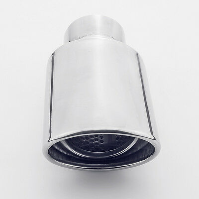 """2.5"""" Inlet 7"""" Long Oval Angle Cut 304 Stainless Steel Exhaust Tip"""