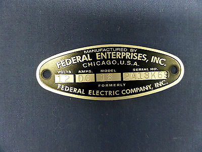 Federal Enterprises Inc 18 Solar Ray & 19 Propello Ray 12 Volt Replacement Badge